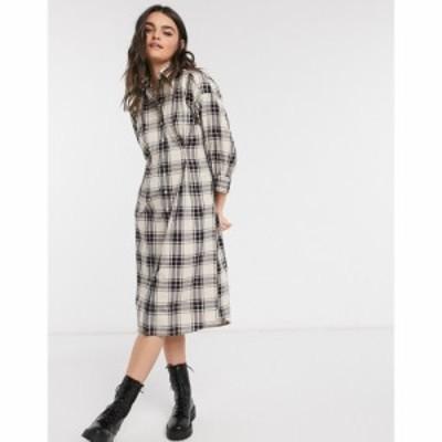 ガント Gant レディース ワンピース シャツワンピース ワンピース・ドレス GANT oversized shirt dress in check クリームベージュ