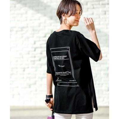 ジーラ GeeRA 綿100%バックプリントTシャツ(ブラック)