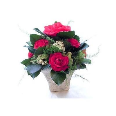赤いバラとテラコッタの花器アレンジ プリザーブドフラワー