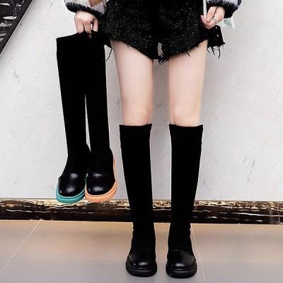 ブーツ ロング レディース シューズ おしゃれ 秋 冬 大きいサイズ 黒 ブラック 痛くない 歩きやすい ぺたんこ ^bo-618^
