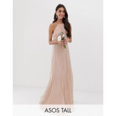 エイソス レディース ワンピース トップス ASOS DESIGN Tall Bridesmaid pinny maxi dress with ruched bodice Soft blush