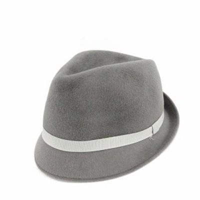 【中古】レナードプランク REINHARD PLANK 中折れ帽 ハット 帽子 ラビット リボン グレー /KH レディース