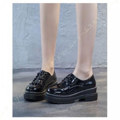 オックスフォード レディース 革靴 フリンジ 小さいサイズ 通学 通勤 レースアップ ブーティー シューズ 靴 おじ靴 ヒール エナメル 女性 用 レディース