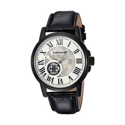 Thomas Earnshaw Men's Beagle Stainless Steel Swiss-Automatic Watch with Leather Strap, Black, 22 (Model: ES-0028-03) 海外輸入商品