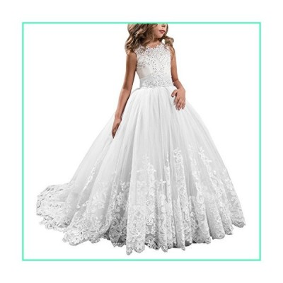 APXPF Long Tulle Flower Girl Dress Pageant Dresses Kids Prom Puffy Ball Gown White Child2並行輸入品