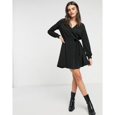 ヴェロモーダ レディース ワンピース トップス Vero moda belted mini dress with v neck in black Black