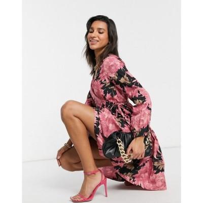 ヤス ミニドレス レディース Y.A.S wrap dress in pink and black floral エイソス ASOS