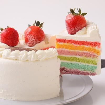 かわいい萌え断ケーキ♪ レインボーケーキ 5号 15cm