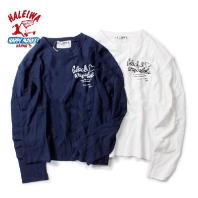 ハレイワ Tシャツ 長袖 ブランド おしゃれ ロングスリーブ ショート トレーナー ロングTシャツ ポケット かわいい ハワイ サーフ 白 紺
