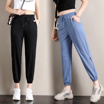 2020夏の高腰の薄いタイプのゆったりした大きいサイズのランタンのズボンの女性はやせています 9分丈 パンツ 無地 美脚スパッツ ズボン レディースファッション 韓国ファッション