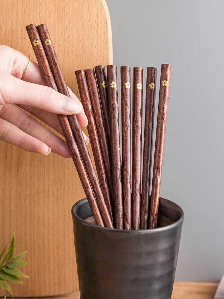 櫻花紅木筷子日式家用高檔5實木分人尖頭快套裝細頭可愛一人一筷
