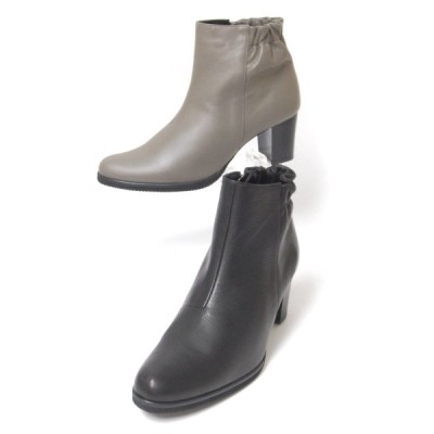 STEP NINE ブーツ NINE DI NINE ブーツ 6241 クロ グレー ブーツ レディース ショート ファスナー 太いヒール 3E 歩きやすいブーツ レディース 痛くないブーツ