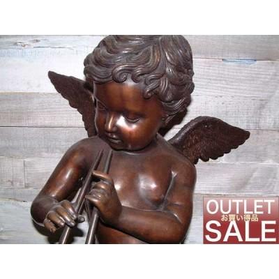 天使雑貨 笛を吹いてるブロンズ製 エンジェル像 送料無料