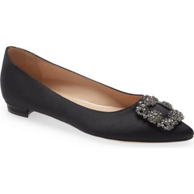 マノロブラニク MANOLO BLAHNIK レディース スリッポン・フラット シューズ・靴 Hangisi Jeweled Pointy Toe Flat Black Satin/Classic Buckle
