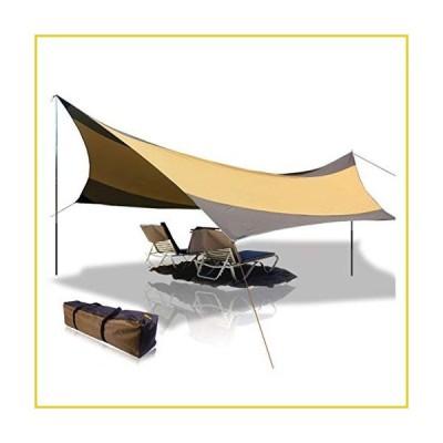BaiYouDa Beach Tent Tarp 18x18 ft 5-8 Person Lightweight Shelter Sun Shade Awning Canopy with Tarp Poles, Ripstop Portable Waterproof Sun-Pr