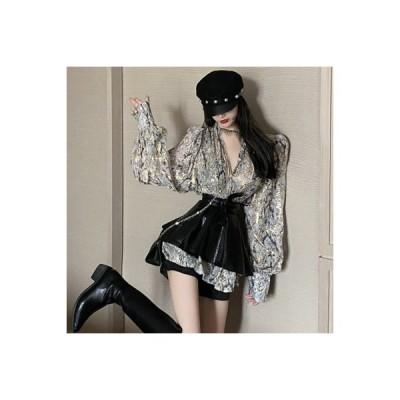【送料無料】秋 レトロ デザイン 感 襟 ルース 長袖シャツ ひもあり スモ | 364331_A63638-9503635