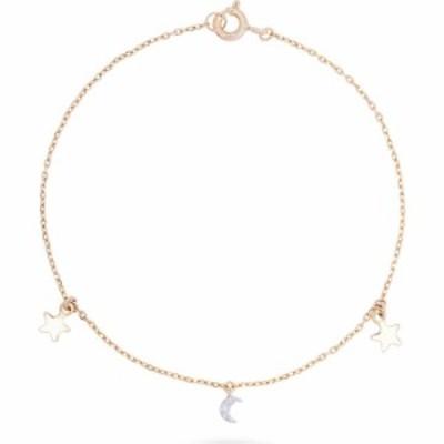 ストーンアンドストランド STONE AND STRAND レディース ブレスレット チャーム Moon and Star Charm Bracelet 10k Yellow Gold White Di