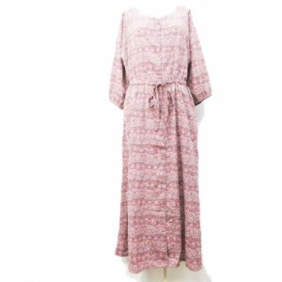 【中古】ショコラフィネローブ chocol raffine robe マキシ シャツ ワンピース 七分袖 ロング F (M) ピンクベージュ