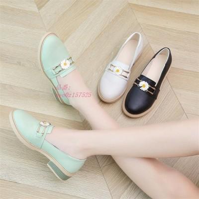 レディース 革靴 ローファー パンプス モカシン 太めヒール 花柄 ウォーキング オシャレ女子靴