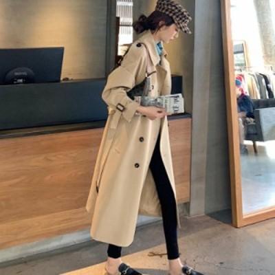 トレンチコート レディース ロングコート スプリングコート ゆったり 秋コート トレンチ コート アウター きれいめ 無地 長袖 通勤 春服