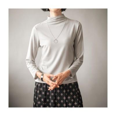 レディースファッション レディース トップス 【バーゲン】テンセル™繊維混ボトルネックTシャツ(日本製) S LL|3795-492989