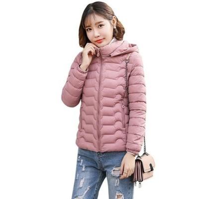 母の日 ライトダウン 中綿ジャケット レディース 冬 ショート丈 フード付き 大きいサイズ ダウンコート 軽量 防寒 暖かい 修身 着痩せ きれいめ