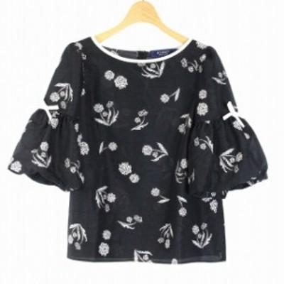 【中古】エムズグレイシー M'S GRACY カットソー 半袖 花柄 リボン 38 M 黒 ブラック 白 ホワイト /MR10 レディース