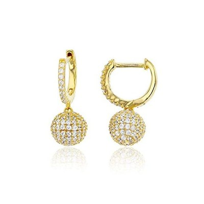 Sterling Silver Yellow 8mm Micropave Ball Dangling Huggie Earring