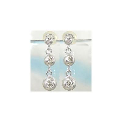 ピアス 18金 ダイヤモンドトリロジー;ホワイトゴールドk18 18kダイヤモンド 0.16ctスタッド 天然石 ダイヤ レディース 宝石  送料無料 ペア