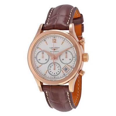 腕時計 ロンジン Longines メンズ L27428762 'Heritage' 18k ゴールド クロノグラフ オートマチック レザー 腕時計