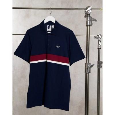 アディダスオリジナルス メンズ Tシャツ トップス adidas Originals premium Samstag polo in navy Navy