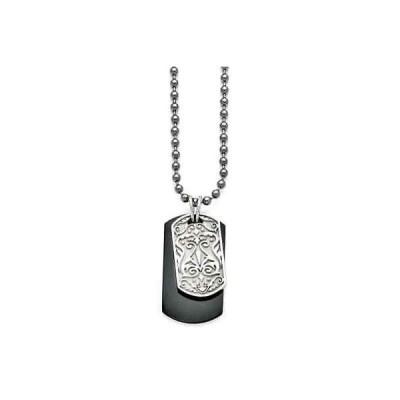 海外セレクション チェーン ネックレス Titanium and Sterling Silver Black Polished Etched Dog Tag