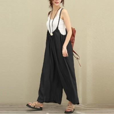 オールインワン サロペット ゆったり ガウチョパンツ パンツ ロングパンツ レディース ファッション
