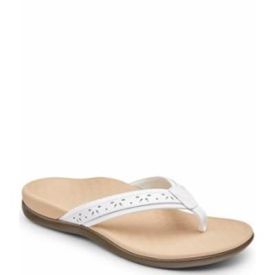 バイオニック レディース サンダル シューズ Casandra Perforated Leather Thong Sandals White
