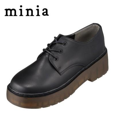 ミニア minia AS-1007 レディース | カジュアルシューズ | 防水 雨の日 | マニッシュ メンズライク | ブラック