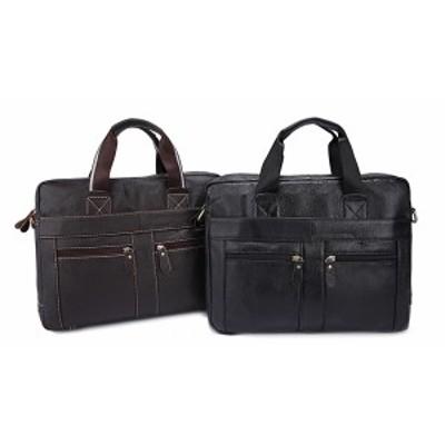 メンズ 本革 レザー ブリーフケース ビジネスバッグ ハンドバッグ 15PC B4 旅行 出張 通勤 書類かばん 手提げ鞄 斜め掛け 2WAYショルダ