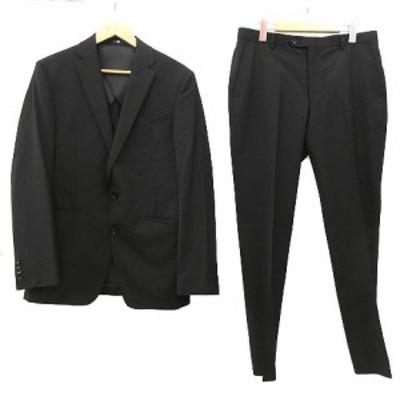 【中古】スーツセレクト SUIT SELECT スーツ セットアップ 上下 シングル 2B 背抜き ビジネス フォーマル A7 黒 ブラック R031425 メンズ