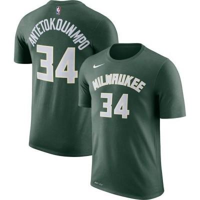 ナイキ メンズ Tシャツ トップス Nike Men's Milwaukee Bucks Giannis Antetokounmpo #34 Dri-FIT Green T-Shirt
