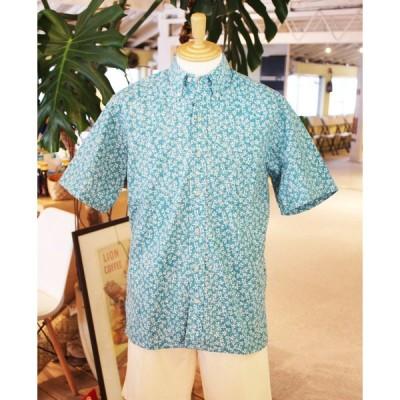 アロハシャツ 半袖 レインスプーナー KIKO BLOOMS キコ ブルームス Button Front ボタンフロント Teal Blue ティール