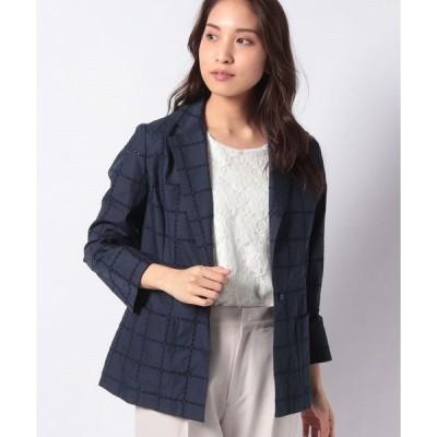 【ラピーヌ ブランシュ】ハイカウントブロードレース刺繍ジャケット