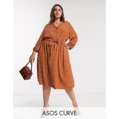 エイソス レディース ワンピース トップス ASOS DESIGN Curve button through ruched waist midi dress in rust spot Rust/white spot
