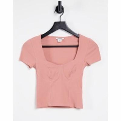 モンキ Monki レディース Tシャツ トップス Minnie Organic Cotton Stitch Detail Top In Rose Pink ピンク