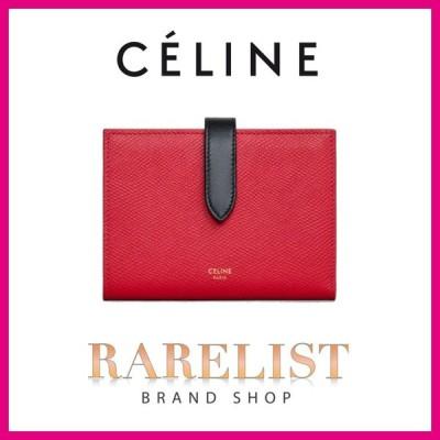 セリーヌ CELINE 財布 中財布 2つ折り 二つ折り レッド ブラック ゴールド レザー 本革 ロゴ ストラップ