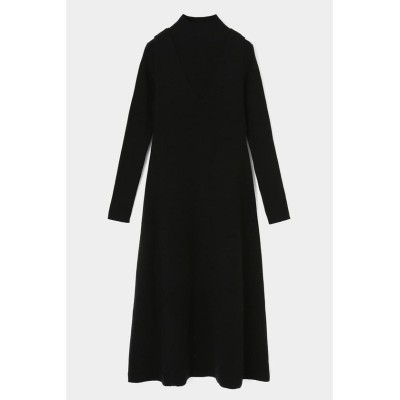 【マウジー】 LAYERED FLARE KNIT ドレス レディース ブラック FREE MOUSSY