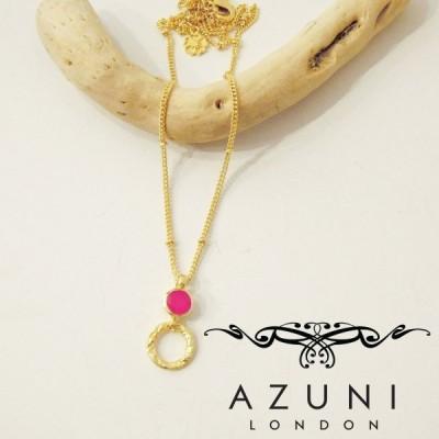 アズニ AZUNI フューシャオニキス付きフープネックレス レディース 新品 未使用 ゴールド 通販 天然石 ピンク キャサリン妃