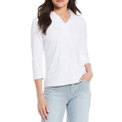 ジェーマクラフリン レディース Tシャツ トップス Durham 3/4 Sleeve Ruffle Top White