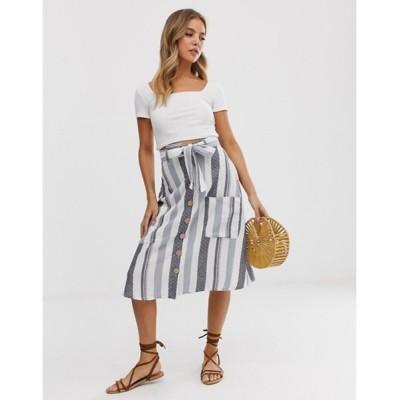 インフルエンス レディース スカート ボトムス Influence midi skirt with pockets in natural stripe