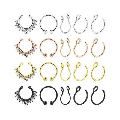 AVYRING Fake Nose Rings Hoop Clip On Nose Septum Ring Faux Non-Pierced