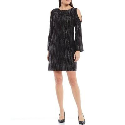 ジェシカハワード レディース ワンピース トップス Petite Size Long Sleeve Cold Shoulder Glitter Jersey Sheath Dress Black
