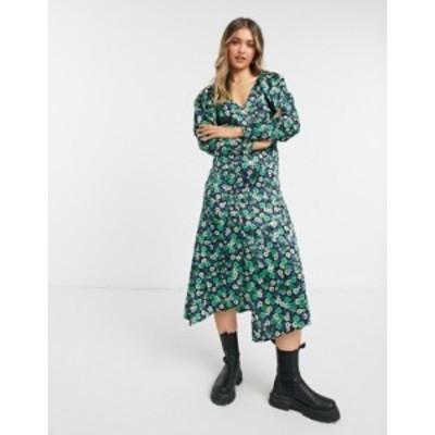 トップショップ レディース ワンピース トップス Topshop satin floral print midi dress in green Green